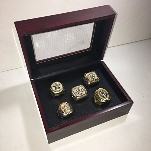 Set of 5 Dallas Cowboys Super Bowl VI, XII, XXVII, XXVIII, XXX Replica Ring W/Box-Various Sizes Gold Color Collectible 1971 1977 1992 1993 1995 Aikman, Staubach, Irvin USA - Bowl Dallas Cowboys Super 1992