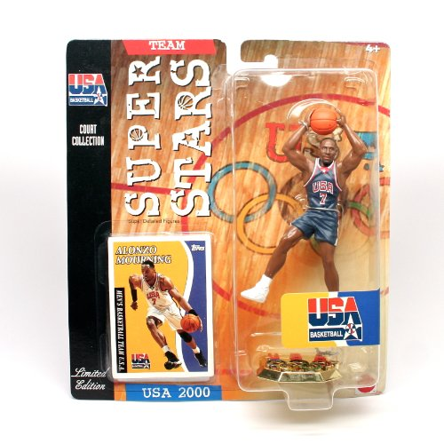 ALONZO MOURNING * 2000 OLYMPICS MEN'S BASKETBALL TEAM U.S.A. * NBA Team Super Stars Limited Edition Figure, USA Display Base & Exclusive Topps Collector Trading -