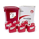 28-GALLON MEDICAL PROFESSIONAL SHARPS RECOVERY SYSTEM WITH SIX 2-GALLON SHARPS COLLECTION CONTAINERS - SHARPS-12862