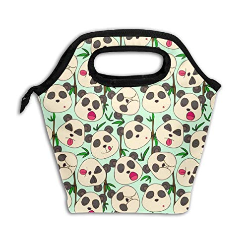 - Waterproof Portable Insulation Cooler Lunch Bag - White And Black Panda Green Bamboo Food Tote Bag - School Office Picnic Travel Lunch Box Storage Organizer