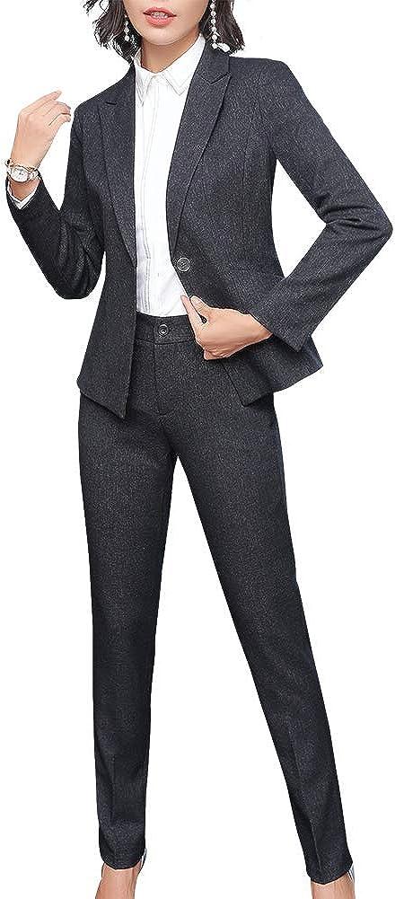 Women/'s 2 Piece Office Lady Business Suit Set Slim Fit One Button Womens Suits for Work Blazer Jacket/&Pant//Skirt Suits