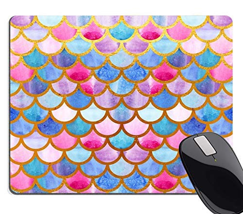 Hscban Mermaid Scales Mouse Pad Custom for Girls,Watercolor Fish Scales Personalized Design Non-Slip Rubber Mousepad