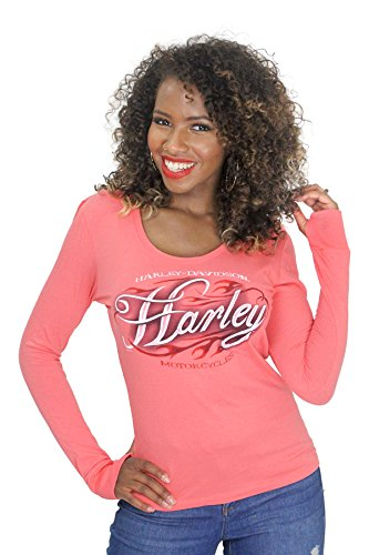 Harley-Davidson Womens Fast Freak Flames Pink Long Sleeve (Small)