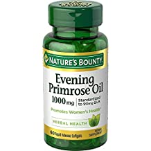 Nature's Bounty Evening Primrose Oil, 1000mg, 120 Softgels (2 X 60 Count Bottles)