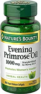 Nature's Bounty Evening Primrose Oil, 1000mg, 120 Softgels (2 X 60 Count Bottles)