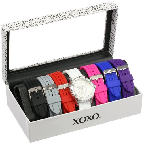 - XOXO Women's Analog Watch with Silver-Tone Case, White Dial, 7 Interchangeable Bands Included - Official XOXO Woman's Silver-Tone Watch, Silicone Buckle Straps - Model: XO9043