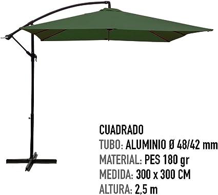 AKTIVE Garden 53892 Parasol excéntrico Banana, 300 x 300 cm, verde ...