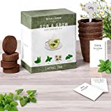Grow Your Own Tea with Nature's Blossom Herbal Tea kit - Contains 4 types of Culinary Herbs Seeds, Seed Starting Soil, Organic Planting Pots, Plant labels & Growing Guide. Superb Indoor Garden Gift.