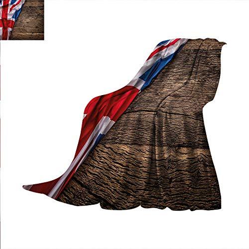 Union Jack Throw Blanket Flag on Oak Board 90