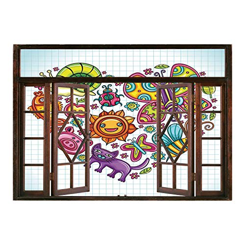 SCOCICI Window Mural Wall Sticker/Doodle,Flora and Fauna Themed Heart Animals Birds and Plants Bumblebee Ladybug Leafs Cat Decorative,Multicolor/Wall Sticker Mural