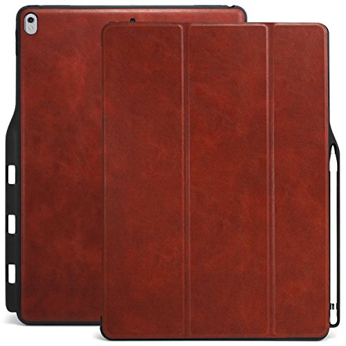 KHOMO iPad Pro 12.9 Inch Case with Pen Holder  ( 1st and 2nd Gen 2016 & 2017) - Dual  Super Slim Cover with Rubberized Back and Smart Feature ( Sleep / Wake ) - PU Leather Brown