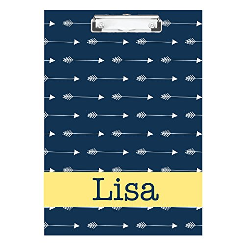Blue Horizontal Arrows with Yellow Personalized Double Sided Hardboard Clipboard ()