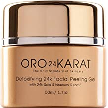 24K Facial Peeling Gel Daily Care Detoxifying Exfoliating Remove Dead Skin New Anti-Aging Formula Anti-Wrinkle Rich with Vitamins C and E Made with 24k Gold Made in the USA (1.7oz)