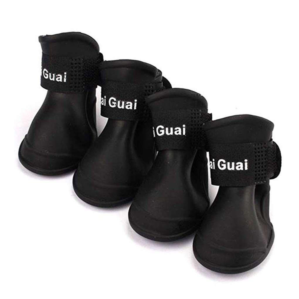Set Cachorro de Perro de los Zapatos de PU Impermeable para Mascotas Botas de Lluvia Antideslizante de los Zapatos Antideslizante el/ástica Protectora para Mascotas 4pcs