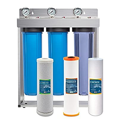 """Express Water Whole House Water Filter System Carbon Sediment Phosphate 3 Stage Filtration 4.5"""" x 20"""" Inch"""