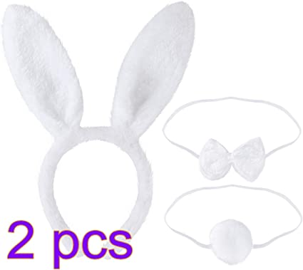 3//pack Cute Girls Bunny Rabbit Costume Headband Tail Necktie Party Fancy Dress
