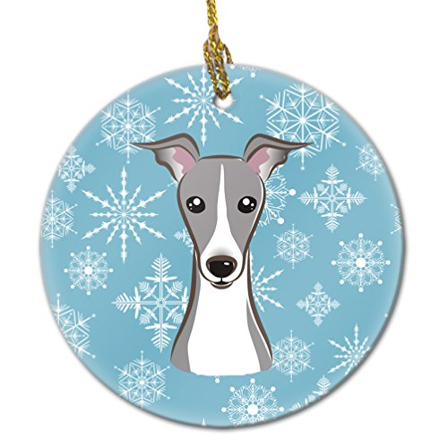 Caroline's Treasures BB1670CO1 Snowflake Italian Greyhound Ceramic Ornament, Multicolor ()