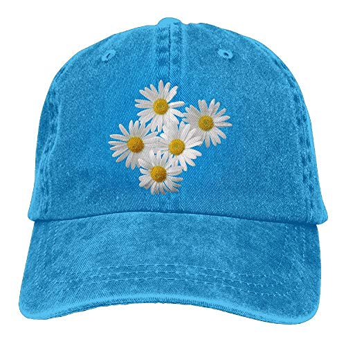 TCJX Daisies Flowers White Denim Hat Adjustable Mens Surf Baseball Cap