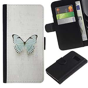 For Samsung Galaxy S6 SM-G920,S-type® Butterfly Blue Minimalist Pretty Grey - Dibujo PU billetera de cuero Funda Case Caso de la piel de la bolsa protectora