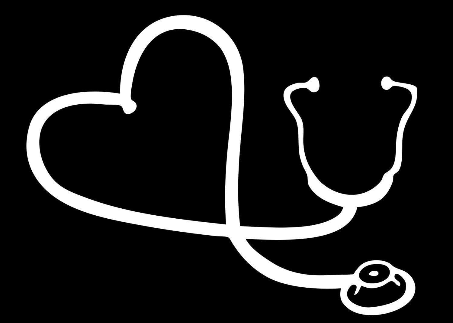 "BKS- Heart Stethoscope Car Window Stickers Vinyl Decal 6"" White Styling Decoration for Car Accessories Laptop Wall Tool Box Removeable Motorcycle Bumper"