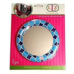 Locker Lookz Round Designer Light and Dark Blue Two Tone Print Mirror