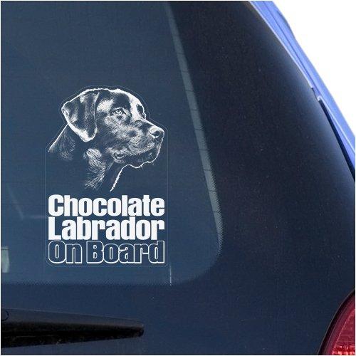 Chocolate Lab Labrador Clear Vinyl Decal Sticker for Window, Retriever Dog Sign Art ()