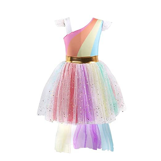 28f62d6f95d Amazon.com  Girls Rainbow Unicorn Costume Princess Tutu Dress Birthday Party  Outfits for 4-5 Years Old  Clothing