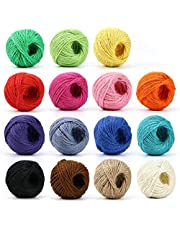 Cotton Bakers Twine, HULISEN 15 Rolls Colourful Twine String for Artworks, DIY Crafts, Gift Wrapping, Picture Display and Embellishments