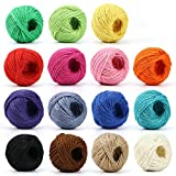 HULISEN Jute Twine - 15 Roll Natural Jute String, 1230 Feet (410 Yards) 2mm 3 ply Twine String for Artworks, DIY Crafts, Gift Wrapping Twine, Picture Display and Embellishments