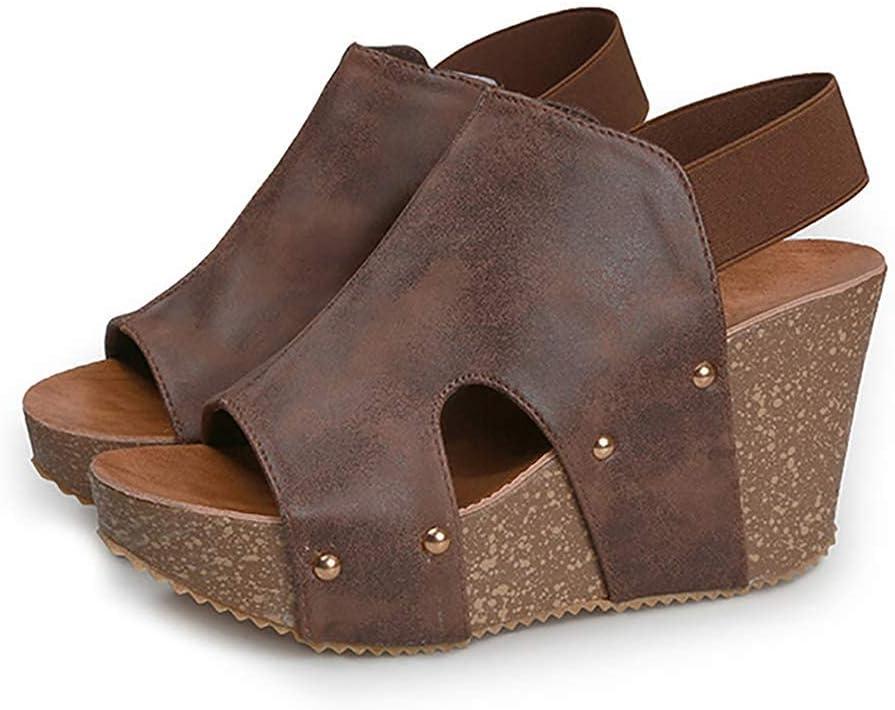 أحذية صيفية ذات كعب عالٍ صندل إسفين للنساء بكعب عالٍ 9 سم كعب عالٍ فم سمكة كلاسيكي حذاء نسائي منصة صندل