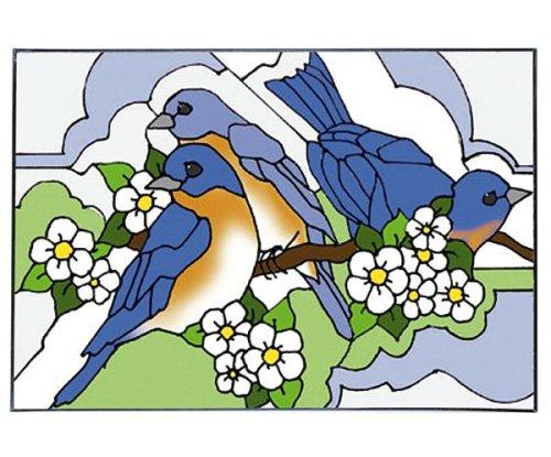 Bluebird and Blossom Horizontal Art Glass Panel Wall Hanging Suncatcher 14 x 20