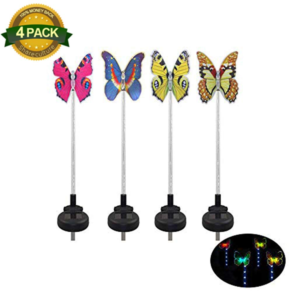 4 Pack Garden Solar Lights Outdoor Solar Garden Stake Light Butterfly Solar Powered String Lights Multi Color Changing for Path,Yard,Lawn,Patio