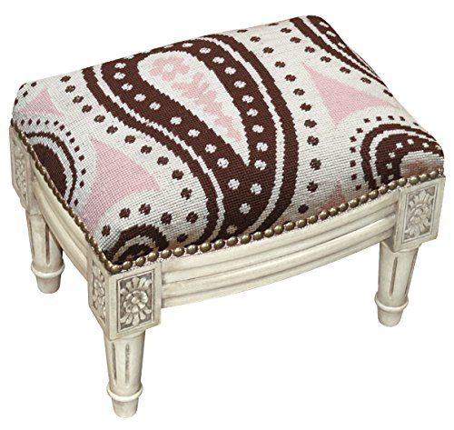 Needlepoint Paisley Brown (SketchONE Wool Needlepoint Upholstered Footrest, Paisley, Pink/Brown)