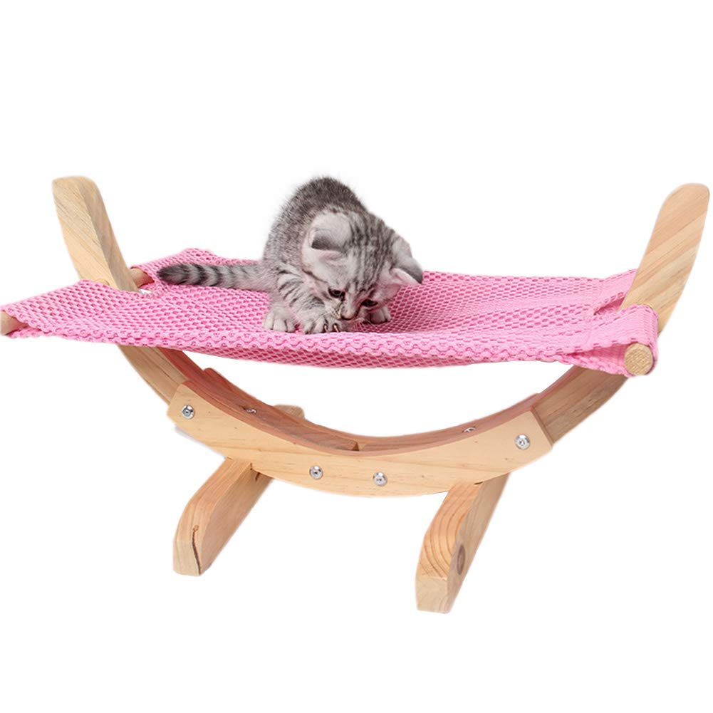 Cat Hammock Large Breathable Hanging Bed for Cats Small Dogs Ferret Rabbit Easy to Assemble Wood Construction