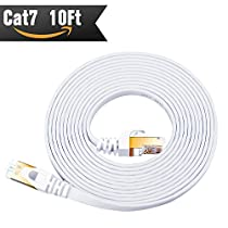 Cat 7 Ethernet Cable 10 ft White ( Highest Speed Cable ) Cat7 Flat Shielded Internet Network Cable with Snagless RJ45 Connector for Modem, Router, LAN, Computer