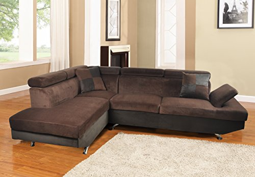 Lifestyle Furniture Genoa Left Hand Facing Sectional Sofa, Dark Brown