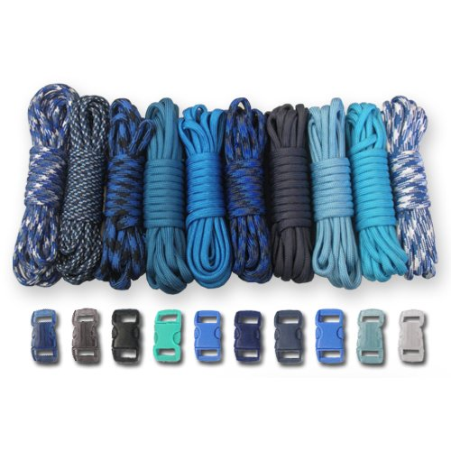 PARACORD PLANET 550 lb Type III Crafting Kits with Buckles, 50', Blues by PARACORD PLANET