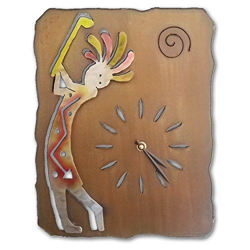 Southwest Clock - Kokopelli Golfer - 13-inch - Sunset Swirl ()