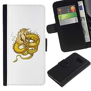 All Phone Most Case / Oferta Especial Cáscara Funda de cuero Monedero Cubierta de proteccion Caso / Wallet Case for Samsung Galaxy S6 // Yellow Dragon Flying Serpent Moustache