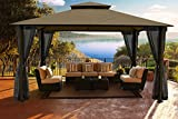 gazebo curtains 12x14 Paragon Outdoor Santa Cruz Gazebo 11x14 ft with Sunbrella Roof - Privacy Curtains and Mosquito Netting, (Cocoa Conopy)