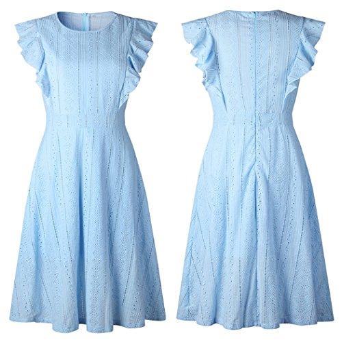 Ecowish Womens Dresses Elegant Ruffles Cap Sleeves Summer