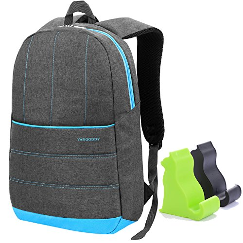 Black and Green Mini Cat Smartphone Stand & VanGoddy 15.6 inch Grove Laptop Backpack for Acer Aspire F 15 F5 572 57T8 (Grey with Sky Blue Trim)