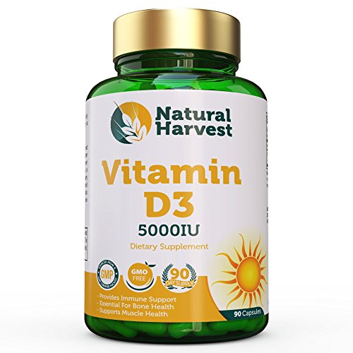 Natural Harvest Vitamin D3-5,000iu Optimal Amount – Immune Booster, Bone Health, Muscle Health – 90 Day Supply! Review