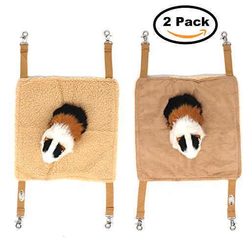 EONMIR Small Pet Animal Hamster Hammock for Cage,House Hanging Bed Cage Toys for Mice Rats Chinchilla (2Pack Brown)