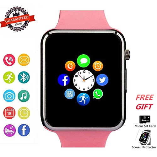 Smart Watch Phone Smartwatch with Camera Pedometer Call Text SNS Sync SIM Card Slot TF Card Music Player Alarm Compatible with Android and IPhone (Partial Functions) for Women Girls Kids - Pink Ladies Watch Player