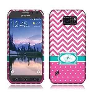 Nextkin Samsung Galaxy S6 Active G890 Flexible Slim Silicone TPU Skin Gel Soft Protector Cover Case - Hot Pink Love Monogram