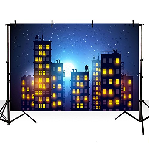 (MEHOFOTO Dark Blue Evening Photo Background Super Hero Themed City Building Children Night Sky Moon Backdrop Banner for Photography)
