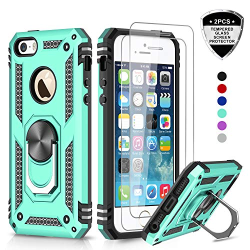 LeYi iPhone se Case, iPhone 5s Case, iPhone 5 Case, Military Grade Armor Full-Body Hybrid Dual Layer Protective Phone Cover Case with 360 Degree Rotating Holder Kickstand for iPhone 5/5s/se JSFS Mint (For Apple 5 Phone Cases)