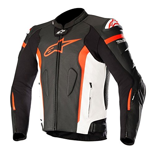Alpinestars Missile Leather Mens Motorcycle Jackets - Black/White/Red - 56