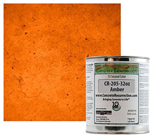 Professional Fast Drying Concrete Stain - Easy to use! Ten Second Color Acetone Dye Concrete Stain - Amber 32oz